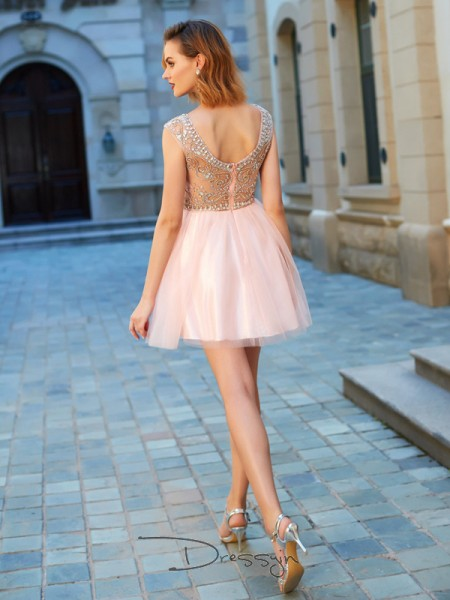 A-Line/Princess Short Sleeves Scoop Beading Net Short dress