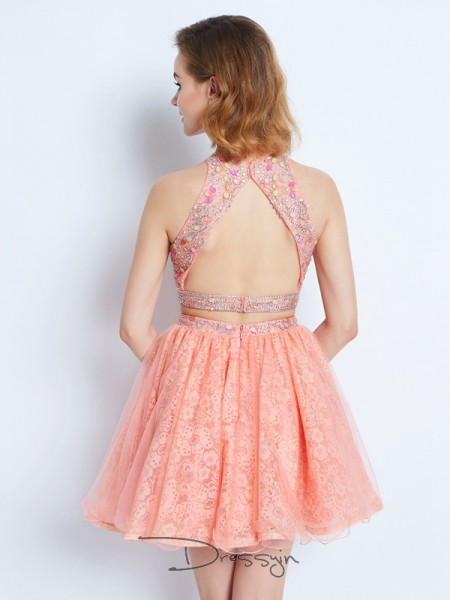 A-Line/Princess Sleeveless Jewel Lace Short dress