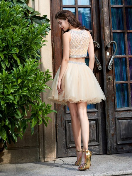 A-Line/Princess Sleeveless Scoop Beading Net Short dress