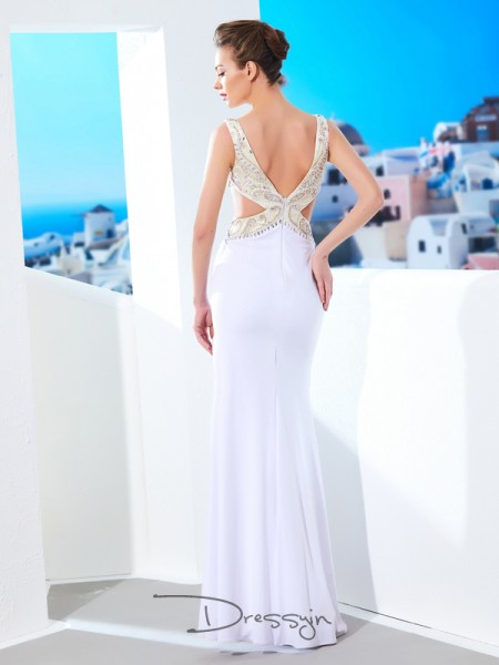 Sheath/Column V-neck Sleeveless Beading Spandex Long Dress
