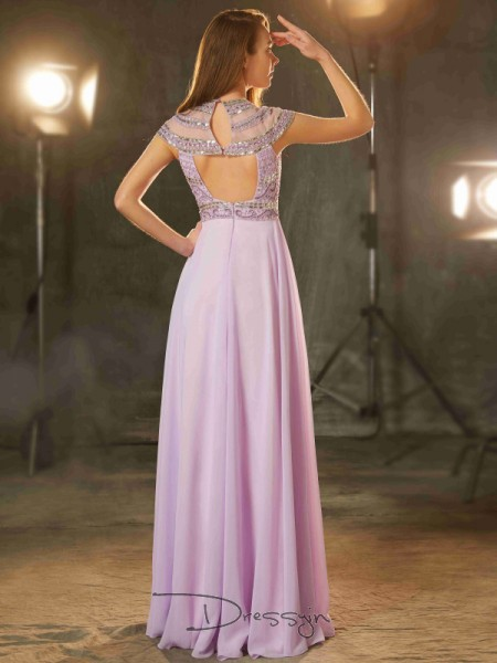 A-Line/Princess Scoop Short Sleeves Beading Chiffon Long Dress