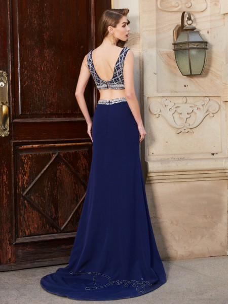 Sheath/Column Bateau Sleeveless Beading Elastic Woven Satin Long Dress