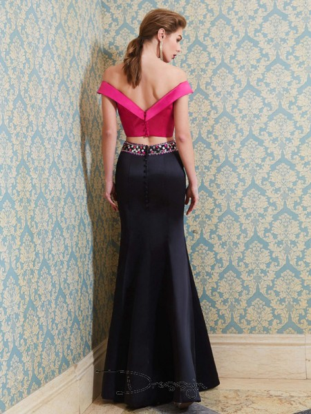 Trumpet/Mermaid Off-the-Shoulder Sleeveless Beading Satin Long Dress