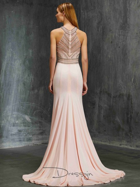 Sheath/Column Scoop Sleeveless Beading Spandex Long Dress