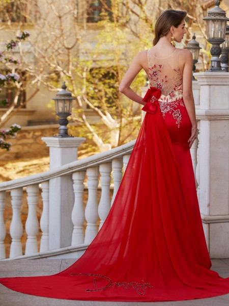 Trumpet/Mermaid Sheer Neck Sleeveless Applique Stain Court Train Dress