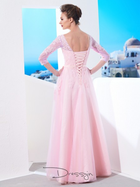 A-Line/Princess Bateau 1/2 Sleeves Applique Tulle Long Dress