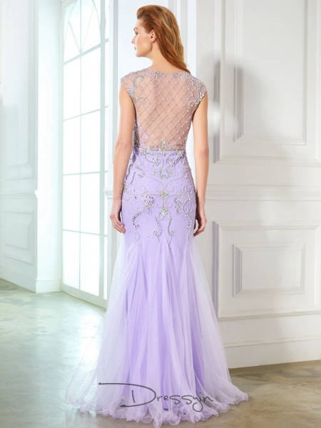 Trumpet/Mermaid Scoop Sleeveless Beading Tulle Long Dress
