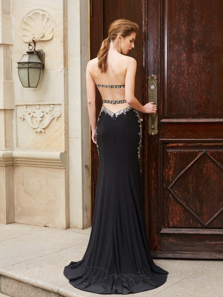 Sheath/Column Sweetheart Sleeveless Sequin Spandex Long Dress