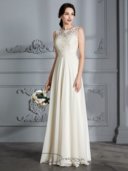 A-Line/Princess Scoop Sleeveless Chiffon long wedding dress