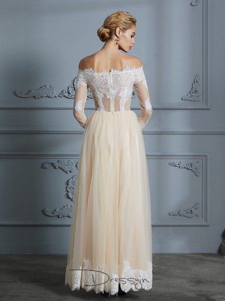 A-Line/Princess Off-the-Shoulder Long Sleeves Tulle long wedding dress