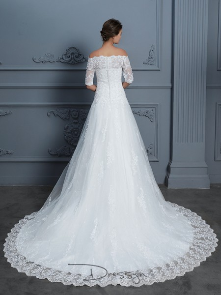 Ball Gown Off-the-Shoulder 1/2 Sleeves Beading Lace Court Train wedding dress