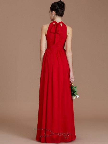 A-Line/Princess Halter Sleeveless Ruched Chiffon Long Bridesmaid Dress