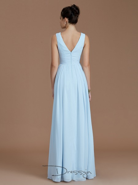 A-Line/Princess V-neck Sleeveless Ruched Chiffon Long Bridesmaid Dress