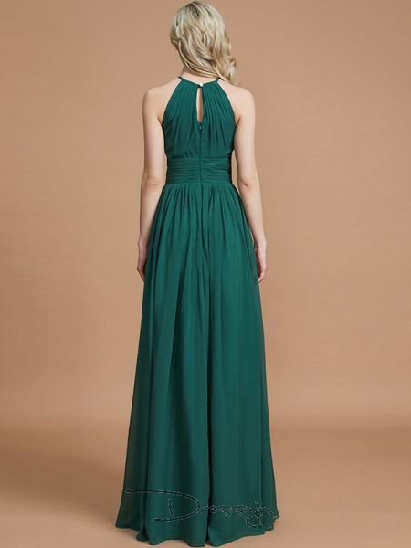 A-Line/Princess Scoop Sleeveless Chiffon Long Bridesmaid Dress