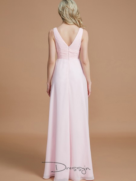 A-Line/Princess V-neck Sleeveless Chiffon Long Bridesmaid Dress