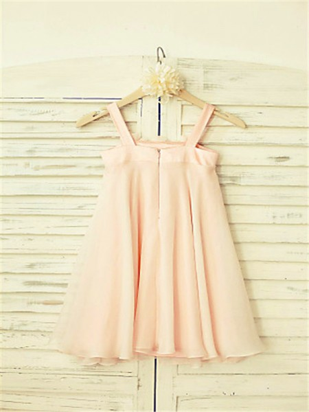 A-Line/Princess Tea-Length Ruffles Spaghetti Straps Sleeveless Chiffon Flower Girl Dress