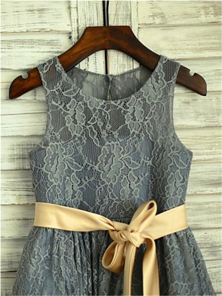 A-Line/Princess Scoop Sleeveless Lace Sash/Ribbon/Belt Tea-Length Flower Girl Dresses