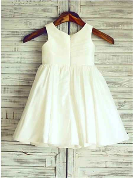 A-Line/Princess Scoop Sleeveless Chiffon Hand-Made Flower Tea-Length Flower Girl Dresses