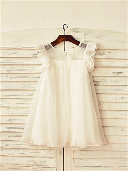 A-Line/Princess Tea-Length Lace Scoop Short Sleeves Chiffon Flower Girl Dress