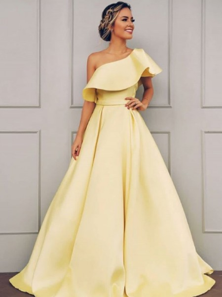 A-Line/Princess Sleeveless Satin One-Shoulder Ruffles Long Dresses