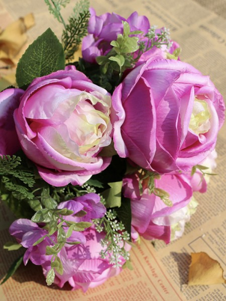 Delicate Free-Form Silk Flower Wedding Bouquets