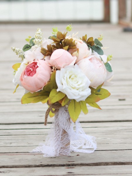 Attractive Round Bridal Silk Flower Bouquets