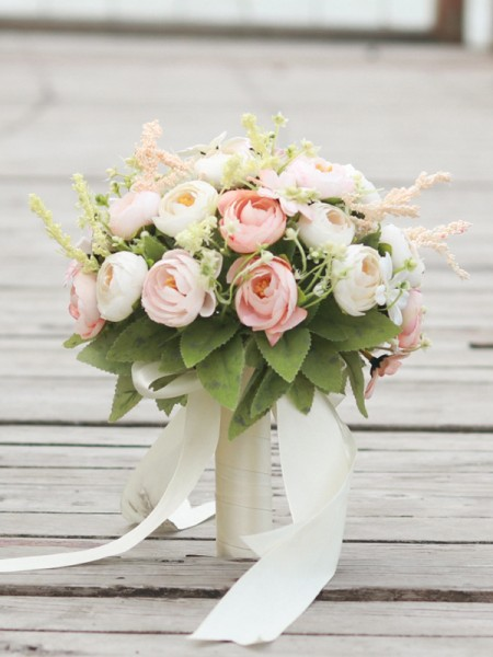 Fascinating Silk Flower Round Bridal Bouquets