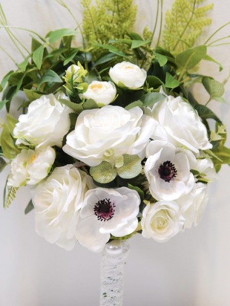 Free-Form White Silk Flower Bridal Bouquets