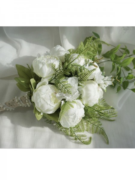 Pure Cascade Silk Flower White Bridal Bouquets