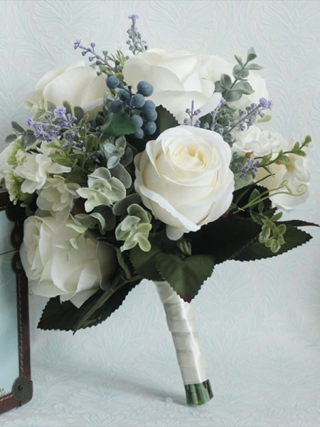 Free-Form Fascinating Silk Flower Bridal Bouquets