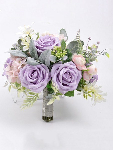 Free-Form Elegant Silk Flower Bridal Bouquets