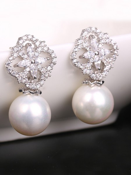 Hot Sale Graceful Copper With Zircon Imitation Pearl Earrings