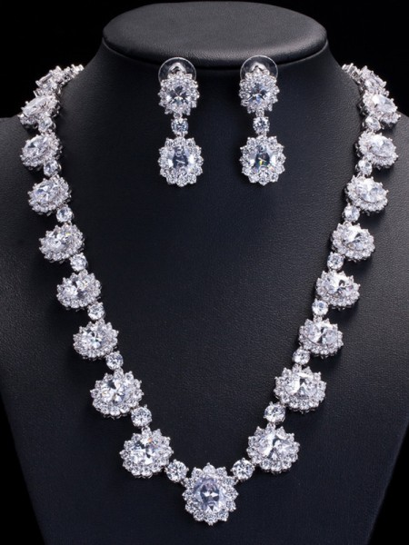 Beautiful Copper With Zircon Jewelry Set For Womens
