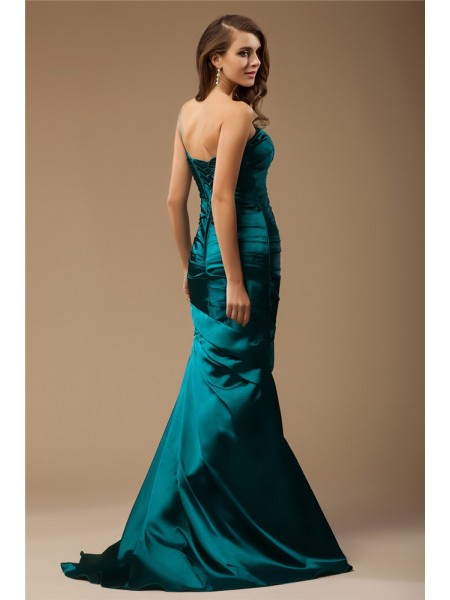 Trumpet/Mermaid One-Shoulder Sleeveless Ruffles Beading Elastic Woven Satin Long Dress