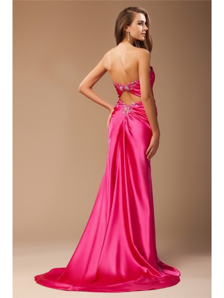Trumpet/Mermaid Sweetheart Sleeveless Beading Elastic Woven Satin Long Dress