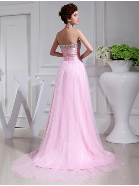 A-Line/Princess Strapless Sleeveless Beading Satin Tulle Long Dress