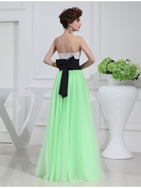 A-Line/Princess Sweetheart Sleeveless Beading Bowknot Satin Tulle Long Dress