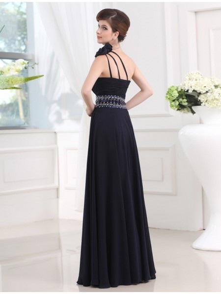 Sheath/Column One-Shoulder Sleeveless Beading Chiffon Long Dress
