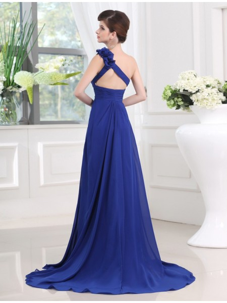 A-Line/Princess One-Shoulder Sleeveless Pleats Hand-Made Flower Chiffon Long Dress