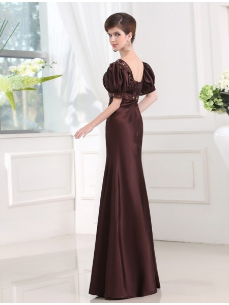 Sheath/Column V-neck 1/2 Sleeves Beading Satin Long Dress