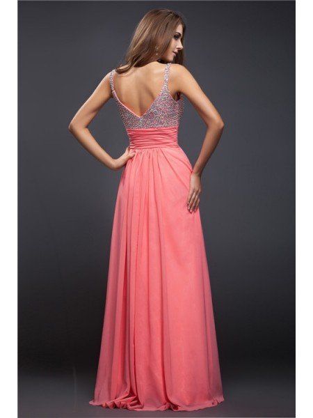 Sheath/Column Spaghetti Straps Sleeveless Beading Chiffon Long Dresses