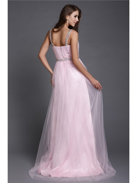 A-Line/Princess Spaghetti Straps Sleeveless Rhinestone Net Long Dress