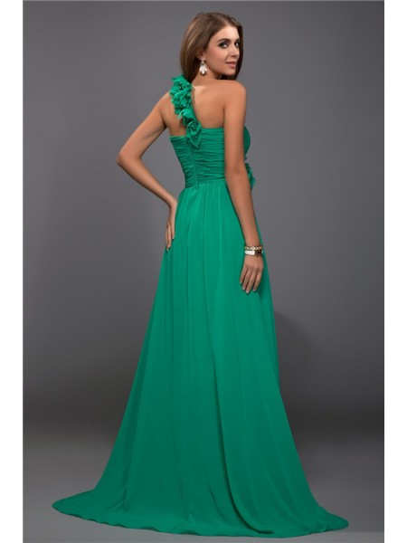 Sheath/Column One-Shoulder Sleeveless Ruffles Hand-Made Flower Chiffon Long Dress