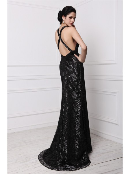 Sheath/Column V-neck Sleeveless Lace Long Dress