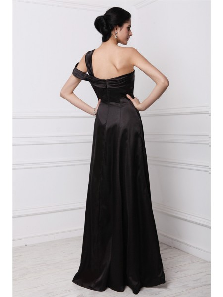 Sheath/Column One-Shoulder Sleeveless Beading Elastic Woven Satin Long Dress
