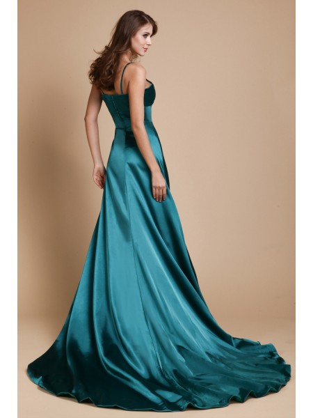 A-Line/Princess Spaghetti Straps Sleeveless Ruffles Elastic Woven Satin Long Dress