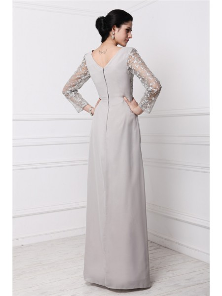 Sheath/Column V-neck Long Sleeves Chiffon Long Dress