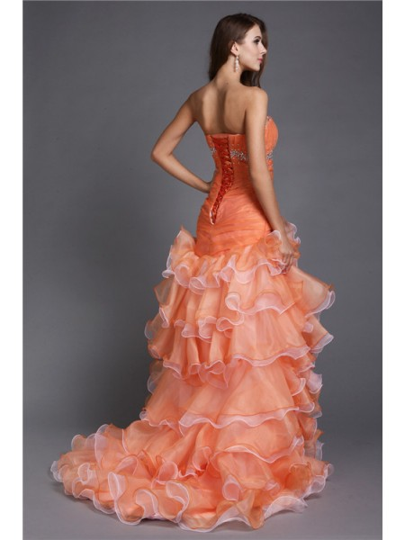 Ball Gown Strapless Sleeveless Beading Organza Asymmetrical Dress