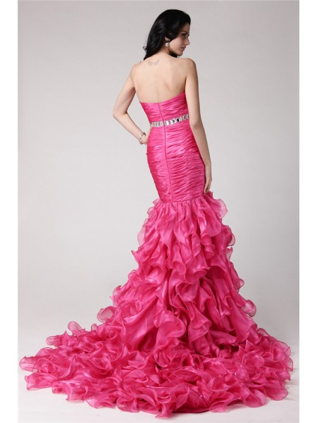 Trumpet/Mermaid Sweetheart Sleeveless Rhinestone Organza Long Dress