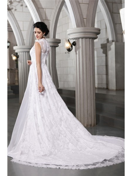 A-Line/Princess Straps Sleeveless Satin Cathedral Train Wedding Dresses